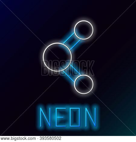 Glowing Neon Line Share Icon Isolated On Black Background. Sharing, Communication Pictogram, Social