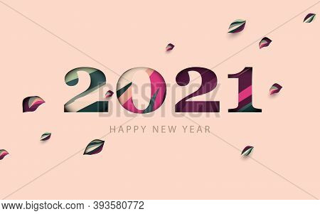 Happy New Year 2021 With Falling Leaves. Paper Cut Numbers With Pastel Color. Greetings And Invitati