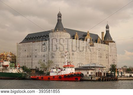 Istanbul, Turkey - October 29, 2020: Haydarpasa Railway Station Is Being Restored After Roof Fire. S