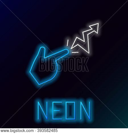 Glowing Neon Line Spell Icon Isolated On Black Background. The Sorcerer Hand Performing Spells. Colo