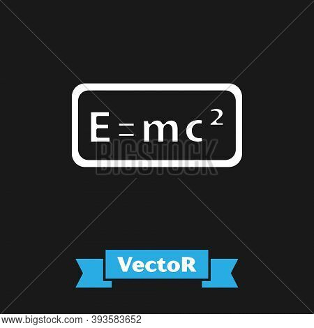 White Math System Of Equation Solution Icon Isolated On Black Background. E Equals Mc Squared Equati