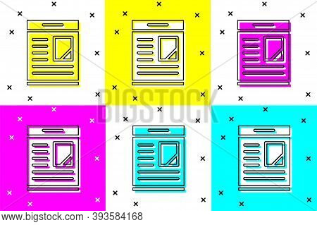 Set Newspaper Advertisement Displaying Obituaries Icon Isolated On Color Background. Vector