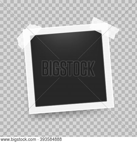 Photo Frame With Tape. Realistic Retro 3d Square Empty Snapshot With White Frame And Sticky Tape On