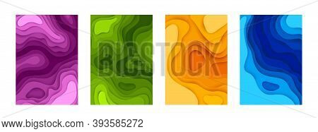 Paper Cut Posters. Abstract 3d Layout With Colorful Shapes, Collection Minimal Origami Banner. Color