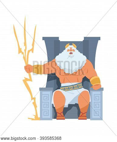 Zeus Greek God. Cartoon Ancient Divine Character, Head Of Pantheon. Bearded Man Sitting On Throne, O