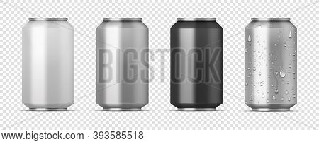Realistic Beer Pack. 3d Aluminum White, Gray And Black Cans For Carbonated Drink With Water Condensa