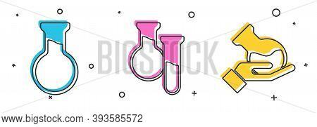 Set Test Tube And Flask, Test Tube And Flask And Test Tube And Flask Icon. Vector