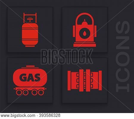 Set Industry Metallic Pipes And Valve, Propane Gas Tank, Petrol Or Gas Station And Gas Railway Ciste