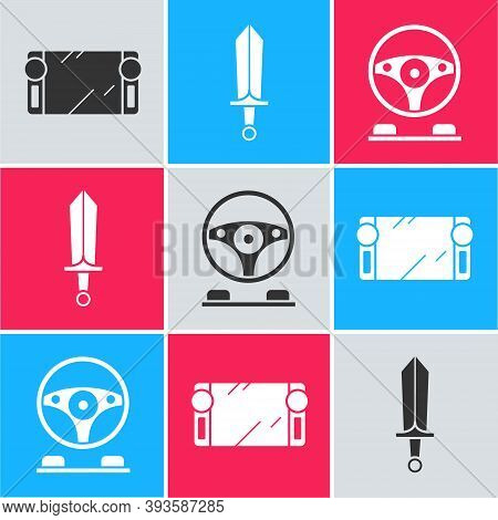 Set Portable Video Game Console, Sword For Game And Racing Simulator Cockpit Icon. Vector
