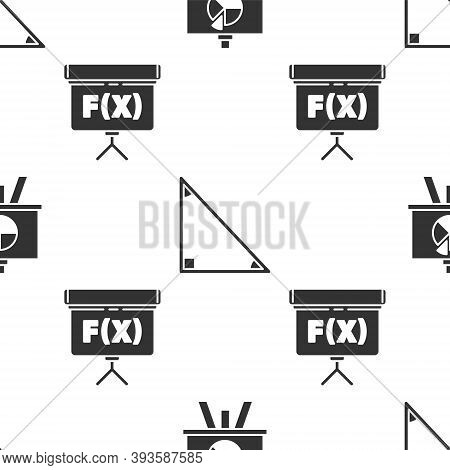 Set Chalkboard With Diagram, Triangle Math And Chalkboard On Seamless Pattern. Vector