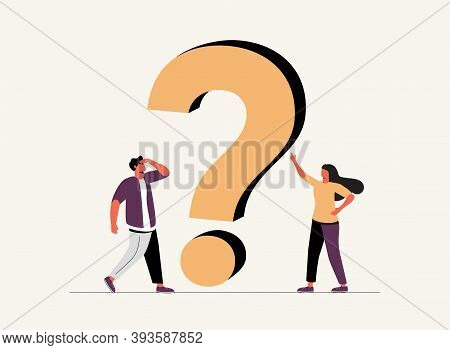 Vector Illustration, Concept Illustration Of People Frequently Asked Questions Around Question Marks