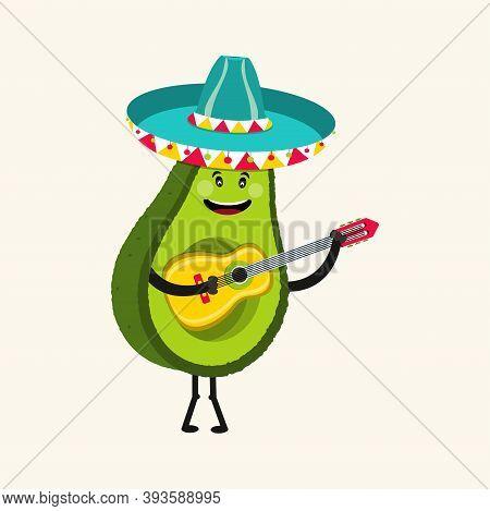 Funny Avocado Characters. Cinco De Mayo Mexican Holiday. Vector Illustration.