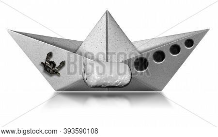 White Paper Boat With Anchor, Portholes And A Fender Bumper, Isolated On White Background With Refle