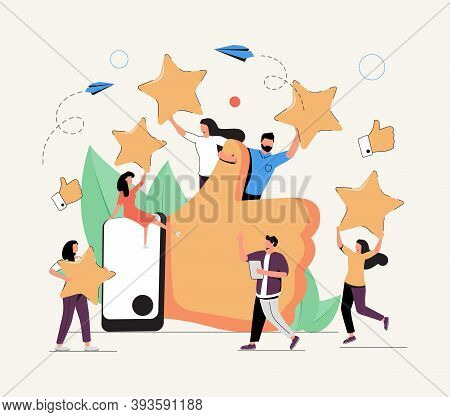 Vector Illustration Of A Vote, Measurement Of Customer Satisfaction And Star Rating, Satisfactory Ra