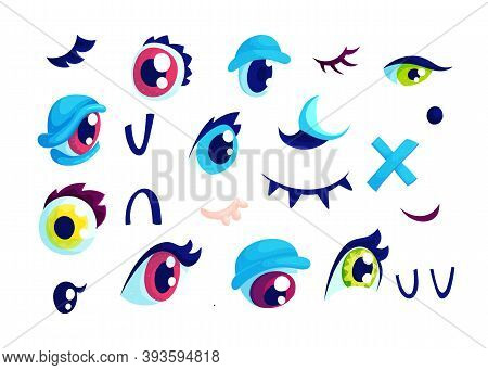 Eyes And Lashes Comic Cartoon Vector Illustrations Set. Funny Eyeballs With Red, Yellow And Green Ir