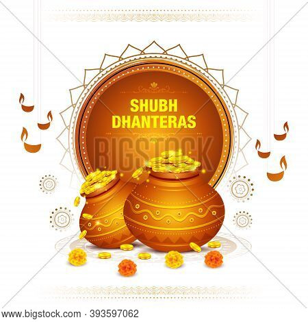 Illustration Pot Full Of Gold Coins, Oil Lamps And Decorative Elements For Celebration Of Indian Rel
