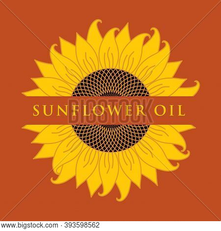 Square Vector Banner Or Label For Sunflower Oil With A Sunflower Close-up And Inscription On A Brown