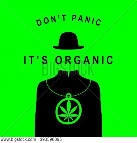 Creative Banner For Legalize Marijuana. Vector Illustration Of A Mysterious Man Without A Face, But