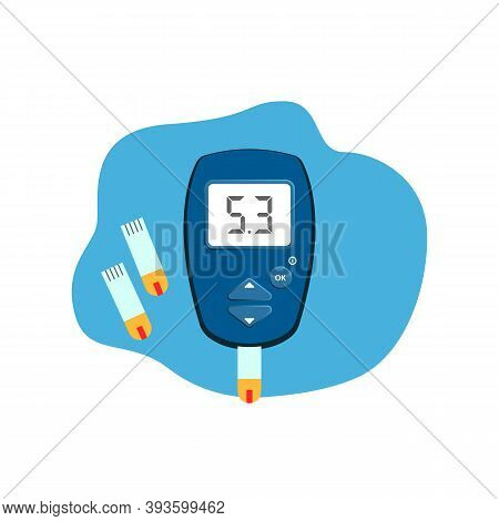 Diabetic Glucose Measuring Device With Normal Sugar Level. Diabetes Glucometer Icon. World Diabetes
