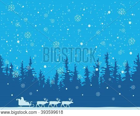 Winter Night Landscape With Silhouettes Of Santa Claus In Sledge And A Team Of Reindeer In A Pine Or