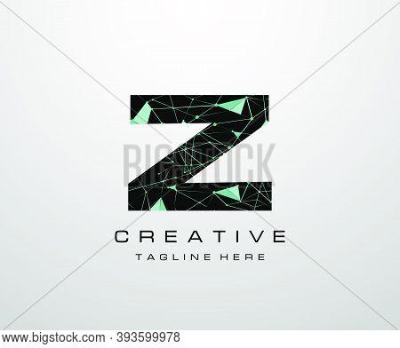 Letter Z Logo. Abstract Technology Z Letter Design, Made Of Various Geometry Chain Line Letter Logo