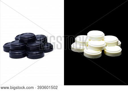 Composition, Still Life, Checkers, White, Black, Individual Piles Decoration Design Black And White