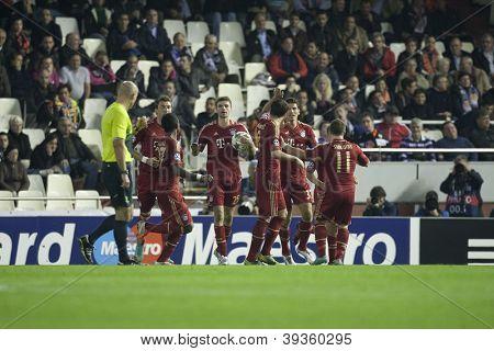 VALENCIA - NOVEMBER 20: Bayer Munchen team celebrating a goal during UEFA Champions League match between Valencia CF and FC Bayer Munchen, on November 20, 2012, in Mestalla Stadium, Valencia, Spain