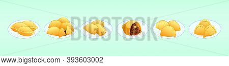 Set Of Empanadas Food. Modern Cartoon Icon Design Template With Various Models. Vector Illustration