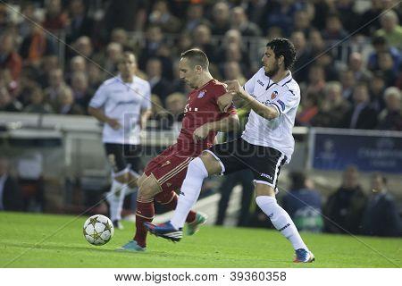 VALENCIA - NOVEMBER 20: Franck Ribery with the ball during UEFA Champions League match between Valencia CF and FC Bayer Munchen, on November 20, 2012, in Mestalla Stadium, Valencia, Spain