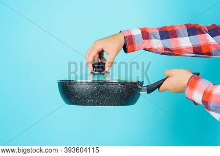 Kitchenware. Cooking Vessels. Kitchen Advertising. Bearded Man With Frypan. Man Chef With Frypan. Co