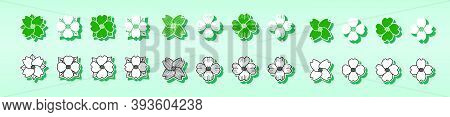 Dogwood Flower Set. Modern Cartoon Icon Design Template With Various Models. Vector Illustration Iso