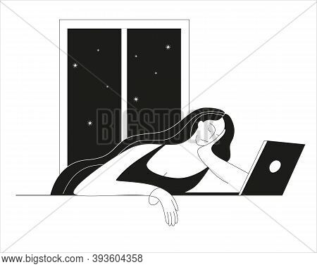 A Tired Woman Sleeps By An Open Laptop. Vector Illustration In Outline Style On The Theme Of Workaho