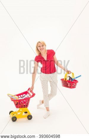 Woman On Shopping. Supermarket. Shopping. Sale. Discount. Black Friday. Buying. Woman On Shopping. B
