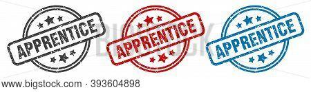 Apprentice Stamp. Apprentice Round Isolated Sign. Apprentice Label Set