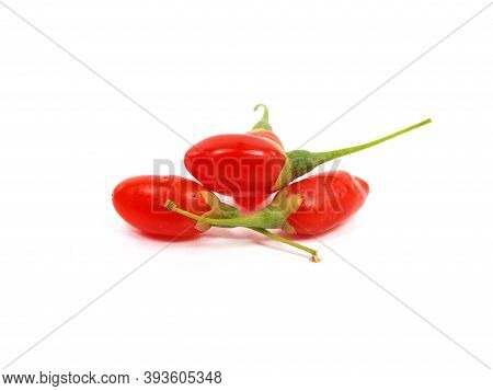 Ripe Fruit Of Goji Berry Or Wolfberry Isolated On White, Lycium Barbarum