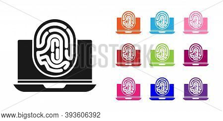 Black Laptop With Fingerprint Icon Isolated On White Background. Id App Icon. Identification Sign. T