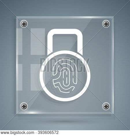 White Fingerprint With Lock Icon Isolated On Grey Background. Id App Icon. Identification Sign. Touc