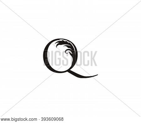Vintage Letter Q Logo. Classic Q Letter Design Vector With Black Color And Floral Hand Drawn.