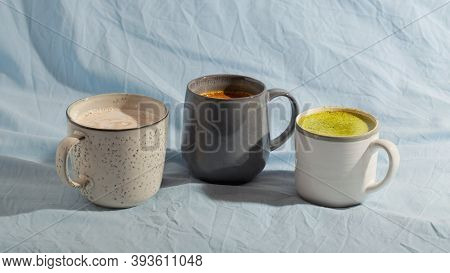 Various Vegan Cocoa Drink On Blue Background. Dairy Free Beverage