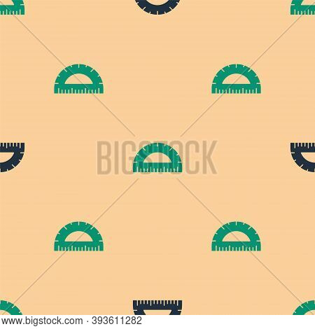 Green And Black Protractor Grid For Measuring Degrees Icon Isolated Seamless Pattern On Beige Backgr