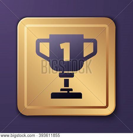 Purple Award Cup Icon Isolated On Purple Background. Winner Trophy Symbol. Championship Or Competiti
