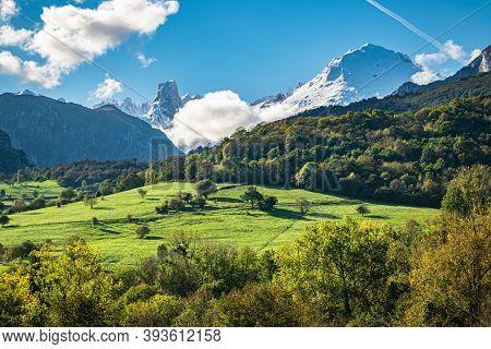 Mountain Landscape Of Asturias With Emblematic Picu Uriellu On The Horizon. Picos De Europa National