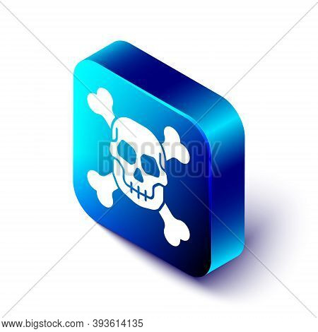Isometric Skull On Crossbones Icon Isolated On White Background. Happy Halloween Party. Blue Square