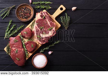 Set Of Raw Beef Steak