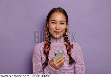 Beautiful Season Concept. Attractive Asian Lady Has Natural Beauty, Dark Hair Combed In Two Plaits W