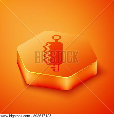 Isometric Trap Hunting Icon Isolated On Orange Background. Orange Hexagon Button. Vector