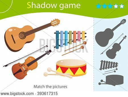 Shadow Game For Kids. Match The Right Shadow. Color Images Of Musical Instruments. Guitar, Violin, D