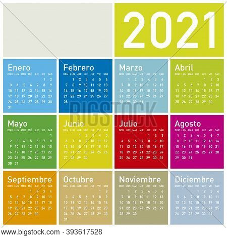 Colorful Calendar For Year 2021, In Spanish. Vector Format