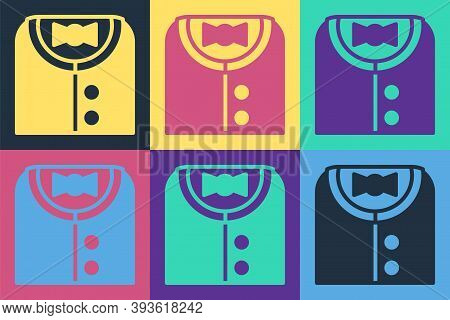 Pop Art Suit Icon Isolated On Color Background. Tuxedo. Wedding Suits With Necktie. Vector