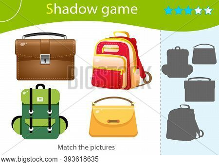 Shadow Game For Kids. Match The Right Shadow. Color Images Of Bags. Backpack, Handbag, Briefcase, Sa
